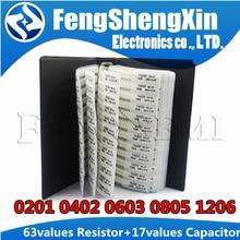 63 значения SMD резистор 0R ~ 2M 1% + 17 значений 15 пФ ~ 1 мкФ сборник смешанных образцов конденсаторов 0201 0402 0603 0805