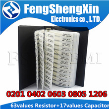 63values SMD Resistor 0R~2M 1% + 17values 15PF~1uF Capacitor Mixed Sample Book 0201 0402 0603 0805 1206