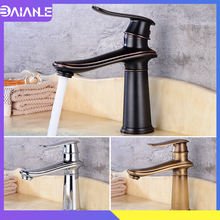 Bathroom Faucet Chrome Brass Black Basin Faucet Cold and Hot Water Single Handle Hole Mixer Tap Toilet Sink Faucet Golden недорого