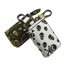 Genuine Leather Car Key Wallet Men Women Bag Cowhide Skull Key Holders Housekeeper Personality Zipper Retro Home Keychain Case