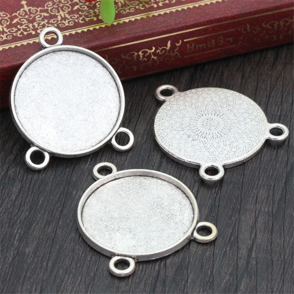 5pcs 25mm Inner Size Antique Silver Plated Colors Three Hanging Style Cabochon Base Setting Charms Pendant (A4-14)