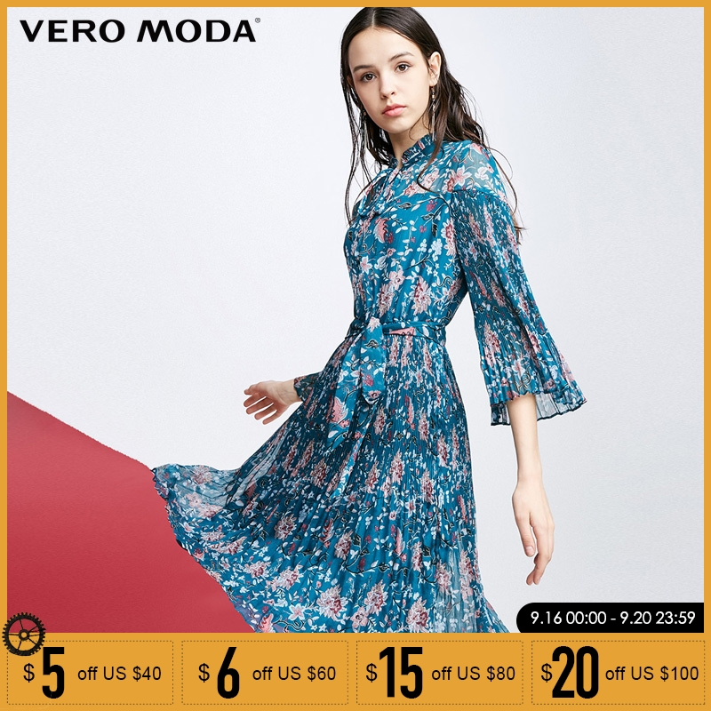 Vero Moda 2019 Spring Summer Women Dress Vintage Dress Flared Sleeves A lined Floral Dresses 31817C512 in Dresses from Women 39 s Clothing