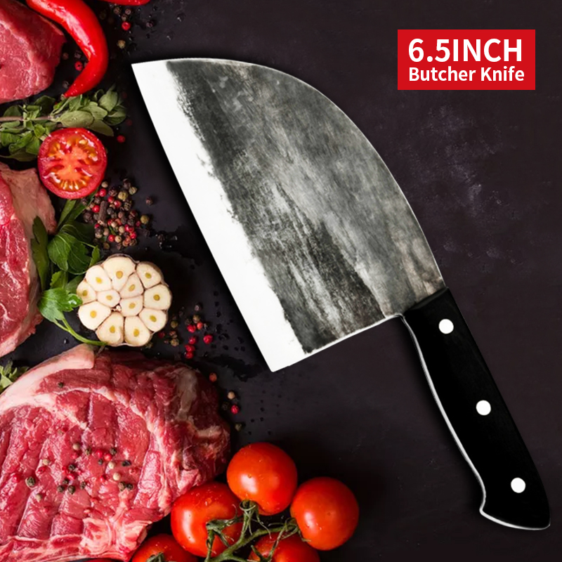Butcher Knife Kichen Knives Chinese Full Tang Handle Meat Cleaver Chef Chopping Knife High Carbon Clad Steel Handmade Forged|Kitchen Knives| |  - AliExpress