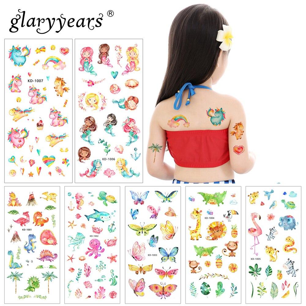 Glaryyears 1 Sheet 9*19cm Temporary Tattoo Sticker Cute Animal Pattern Fake Flash Waterproof  Fashion Small Body Art Woman Child