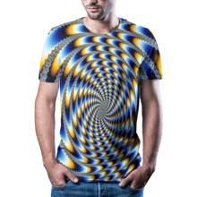 2021 scak yaz yeni 3D grsel hipnoz T-shirt erkek rahat Harajuku marka ksa kollu gmlek renk baskl tirt asya110/6XL