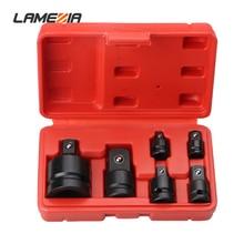 LAMEZIA Carbon Steel 6pcs/set 1/4 3/8 1/2 3/4 Inch Pneumatic Sleeve Kit Variable Square Mutual Adapter Black Phosphating