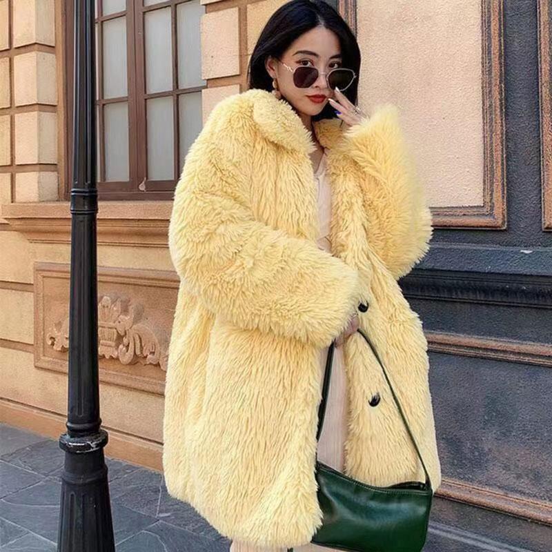 Bella philosophy 2020 Women Winter Faux Fur Warm Coat Horn botton Female Thick Teddy Bear Coat Casual Oversize solid Outwears