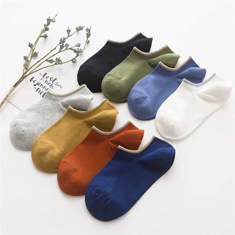 Men Socks Slippers 1 PairsCotton Print Short Invisible Socks New Spring Summer Striped Candy Colorful High Quality Men's Socks