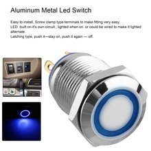 12V Metal Angel Eye LED Car Illuminated Latching 16mm Push Button Switch White Easy to Install