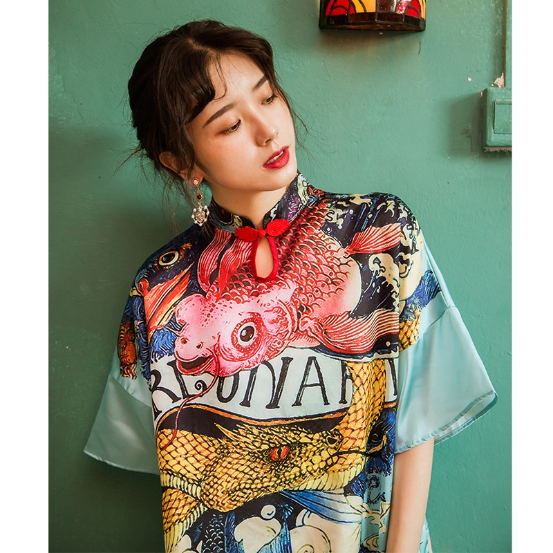 New Cheongsam Young Girl Loose Casual Summer Plus Size Chinese Style Improved Dress National Tide