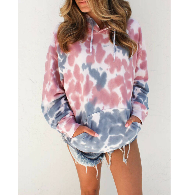 Water Color Crop Hoodies Multicolor Casual Women Drawstring Hooded Sweatshirt Autumn Tie Dye Long Sleeve Hoodies