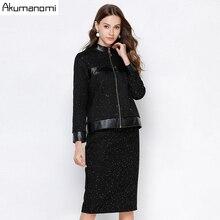 2 parça Set kadın sonbahar siyah artı boyutu 5xl 4xl 3xl L standı yaka tam kollu üstleri ceket etek iki parçalı kıyafetler eşofman