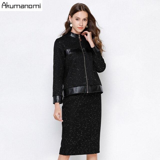 Ensemble survêtement, ensemble 2 pièces pour femme, noir, grande taille 5xl, 4xl, 3xl, col, haut à manches longues, jupe veste, deux pièces