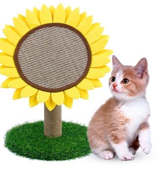 Słonecznik w kształcie kota łóżko z drapak z sizal Kitten wspinaczka aktywność wieża Climber House Cat Play aktywność Cen tanie i dobre opinie CN (pochodzenie) cats Other