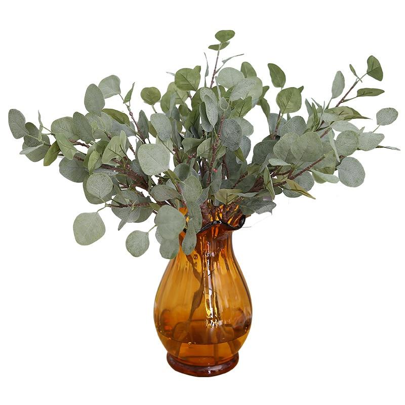 Lange Pol Eukalyptus Blatt Künstliche Pflanzen Hause Hochzeit Dekoration Zubehör Blume Anordnung Geld Blatt Weihnachten Decor