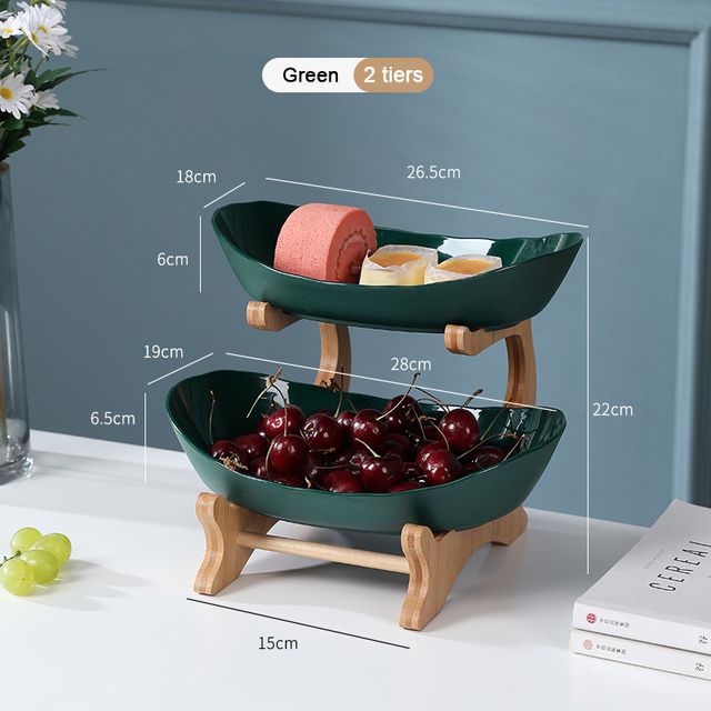 2/3 Tiers Plastic Fruit Plates With Wood Holder Oval Serving Bowls for Party Food Server Display Stand Fruit Candy Dish Shelves 5