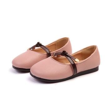 Zapatos de cuero para Niñas para niños vestido de boda princesa escuela Zapatos Niños verano Arco-Nudo negro estudiante sandalias moda coreana