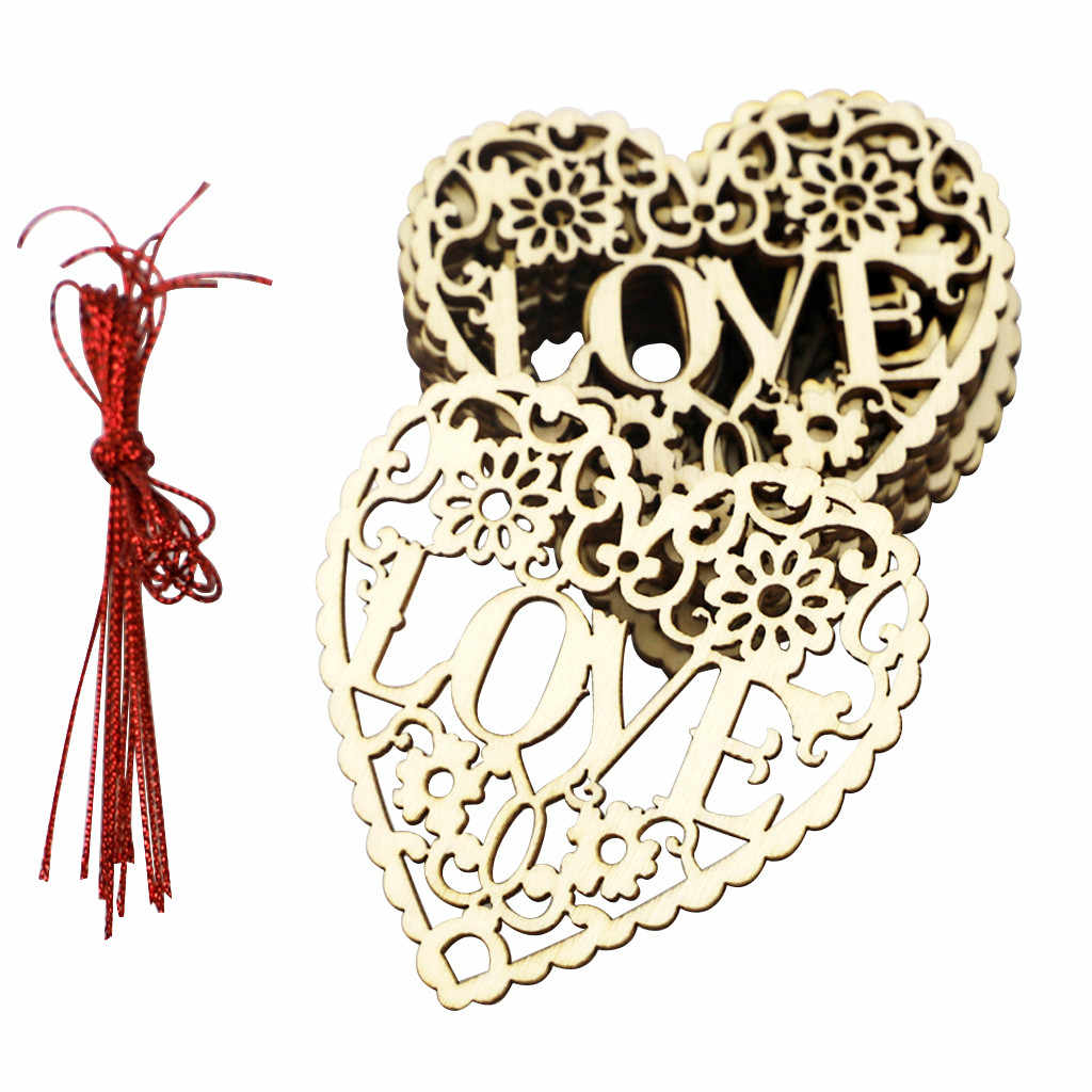 2020 nuevos suministros de boda festivos de madera decoración de amor hueco corazón Día de San Valentín