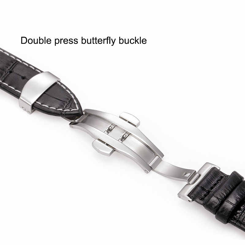 Uالتايلاندية Z09 حقيقية الجلود الساعات 12-24 مللي متر ساعة عالمية فراشة مشبك الفرقة الصلب مشبك حزام حزام المعصم سوار أداة