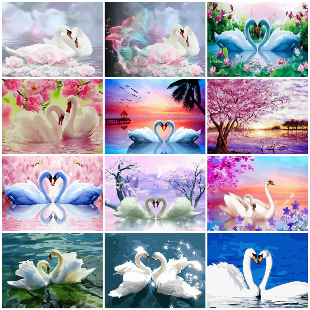 HUACAN Pictures By Numbers Swan Animal DIY Oil Painting By Numbers Kits Drawing Canvas HandPainted Home Decor Gift
