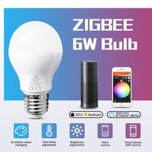 GLEDOPTO LED 6 واط RGB + CCT led لمبة زيجبي smartLED لمبة e26e27 AC100 240V WW/CW rgb led لمبة عكس الضوء المزدوج الأبيض واللون