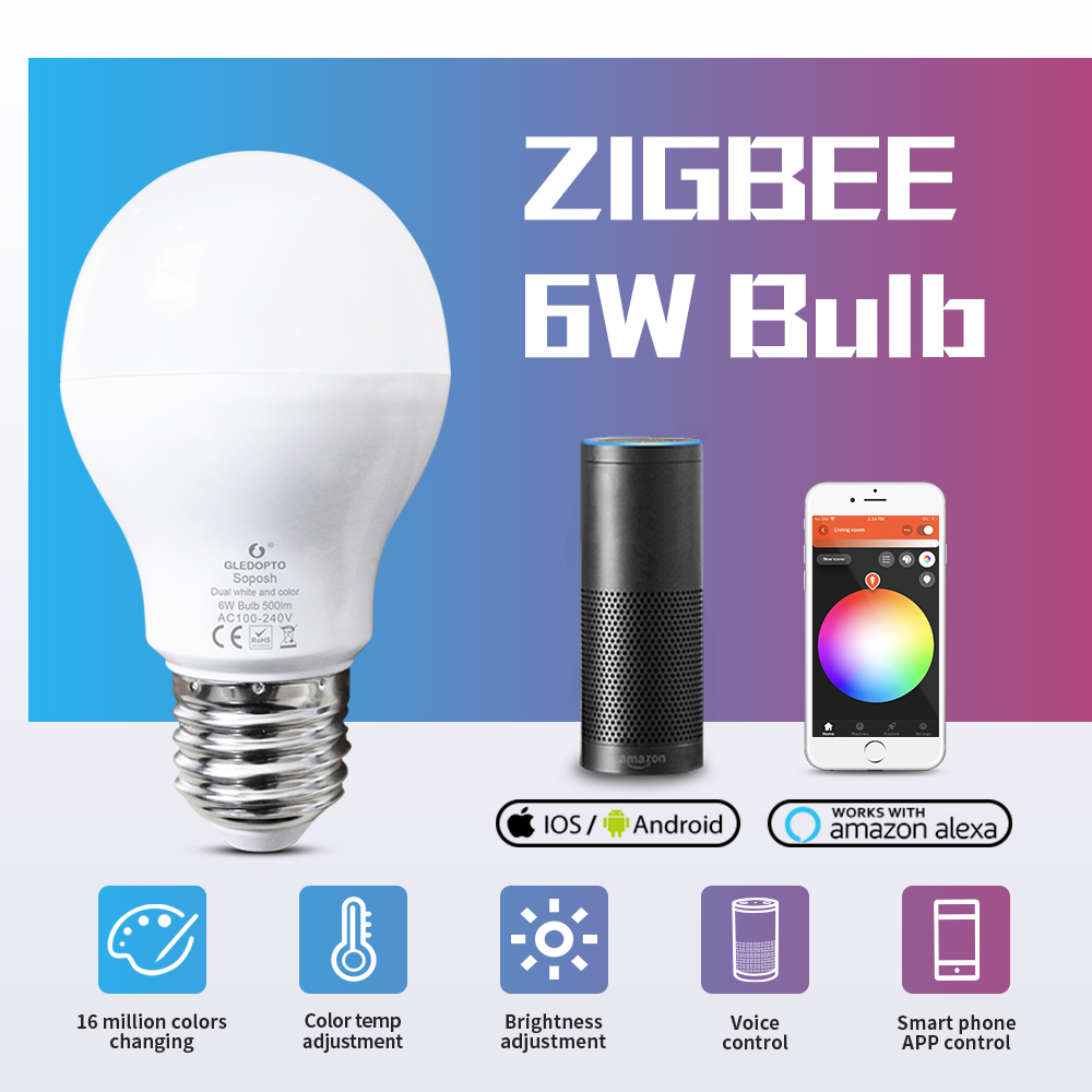 GLEDOPTO LED 6W RGB+CCT Led Bulb Zigbee SmartLED Bulb E26e27 AC100-240V WW/CW  Rgb Led Bulb Dimmable Light Dual White And Color