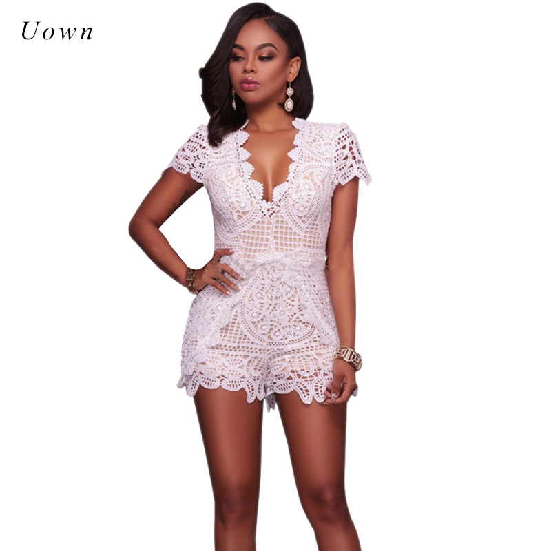 Black White Lace Jumpsuit Romper Women Short Sleeve Deep V Neck Slim Fit Floral Lace Short Playsuit Summer Jumpsuits Outfits XL