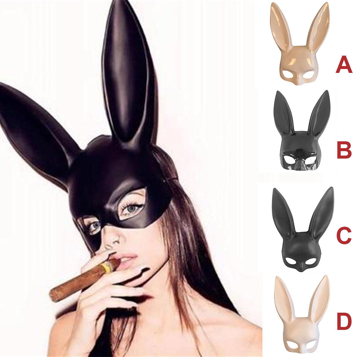 <font><b>Sexy</b></font> <font><b>Women</b></font> Bunny Mask <font><b>Halloween</b></font> Cosplay <font><b>Costume</b></font> Props Hood Masque for Masquerade Rave Carnival Party Rabbit Ear Masks Headwear image