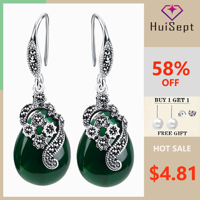 HuiSept Vintage 925 Silver Earrings Water Drop Shape Emerald Ruby Gemstones Jewellery Ornaments Women Earrings Wedding Wholesale