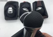 Сетчатый отверстие на ручке переключения передач с подходящим рычагом переключения передач DSG, пылезащитный чехол с черными и красными линиями для audi A3 2010 +