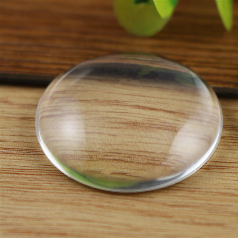 2pcs/lot 35mm 40mm Round Flat Back Clear Glass Cabochon, High Quality, Lose Money Promotion!!!
