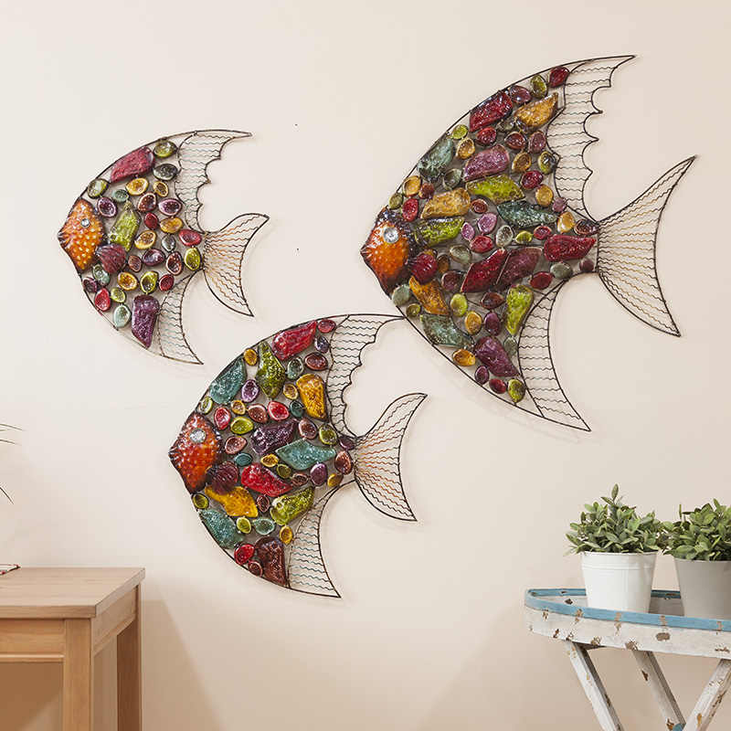 Creative 3D Color Painting Iron Fish Mural  Living Room Hanging Wall Decorations Ornaments Home Decor Accessories