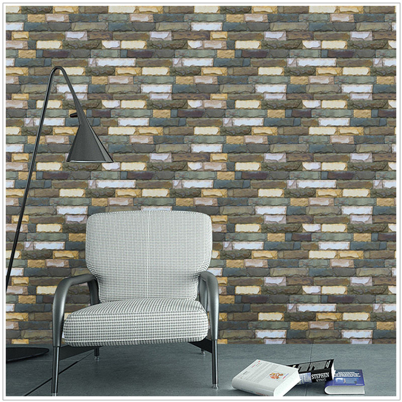 3D Stone Brick Wall Papers Home Decor PVC Self-adhesive Wallpapers Living Room Bedroom Decorations Removed Art Poster Murals