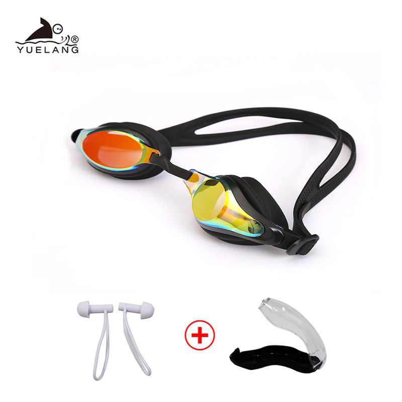 Zwembril oordopjes Multicolor Professionele Mannen Vrouwen Anti Fog Lek Uv-bescherming Swim Eyewear Verstelbare Volwassen Bril