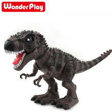 RC Electric Walking Dinosaur Remote Control Electronic Robot With Light Sound Animal model For Kids Baby Toys Christmas Gift(China)