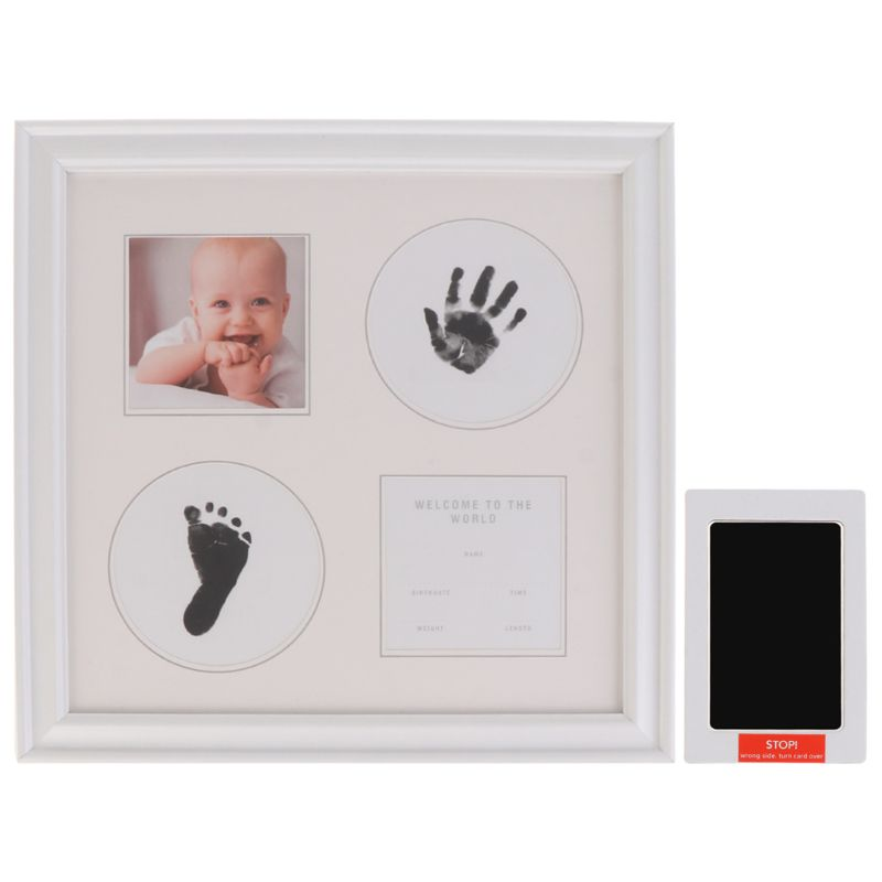 Newborn Baby Handprint And Footprint Ink Pad Wood Picture Frame For Baby And Pet