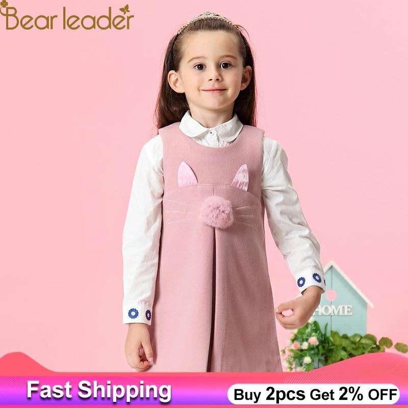 Bear Leader Girls Dress 2018 New Spring Casual Style Solid A-Line Sleeveless Rabbit Ears With Fur Ball Accessories KIds Dress