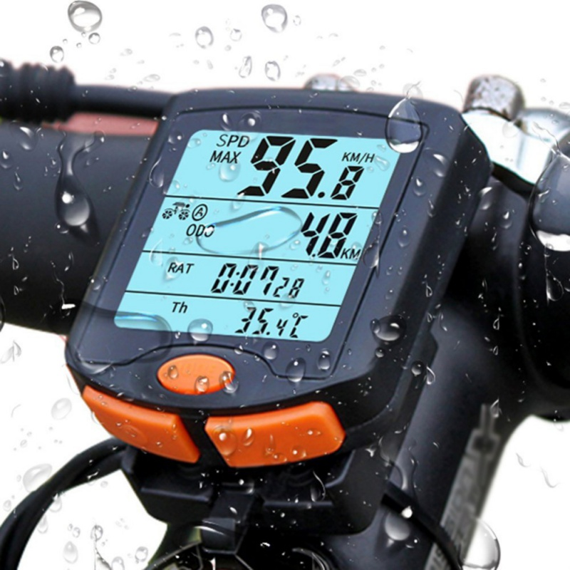Bike Computer Bicycle Speedometer Cycling Odometer Speeding Alert Stopwatch MultiFunction Waterproof 4 Line Display LCD