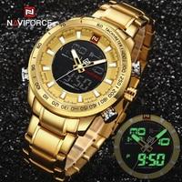 NAVIFORCE Top Marke Military Sport Uhren Herren LED Analog Digital Alarm Armbanduhr Männlichen Armee Edelstahl Quarz Gold Uhr