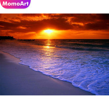 MomoArt Diamond Embroidery Landscape Painting Sea Cross Stitch Sunset Mosaic Full Drill Square Home Decoration