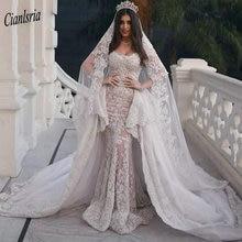 Modest Sweep Train Dubai Arabic Long Mermaid Wedding Dresses Cap Sleeve Appliques Lace Ruffles Bridal Gowns robe de mariée