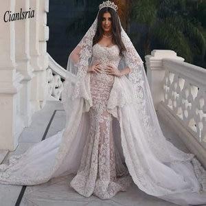 Image 1 - Modest Sweep Train Dubai Arabic Long Mermaid Wedding Dresses Cap Sleeve Appliques Lace Ruffles Bridal Gowns robe de mariée