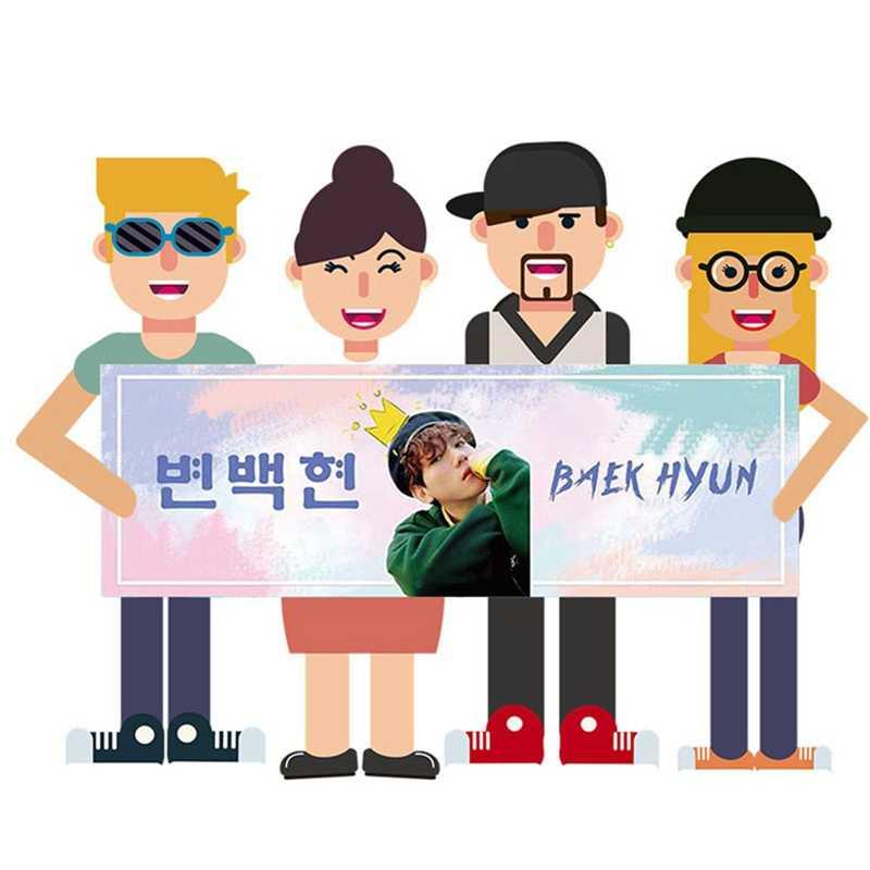 1 חתיכה Kpop EXO BAEKHYUN CHANYEOL SEHUN קונצרט תמיכת יד באנר בד לתלות פוסטר עבור אוהדי אוסף מתנה