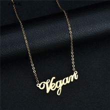 UAGE Vegetarian Symbol Customizable Letters Vegan Necklace Vegan Lifestyle