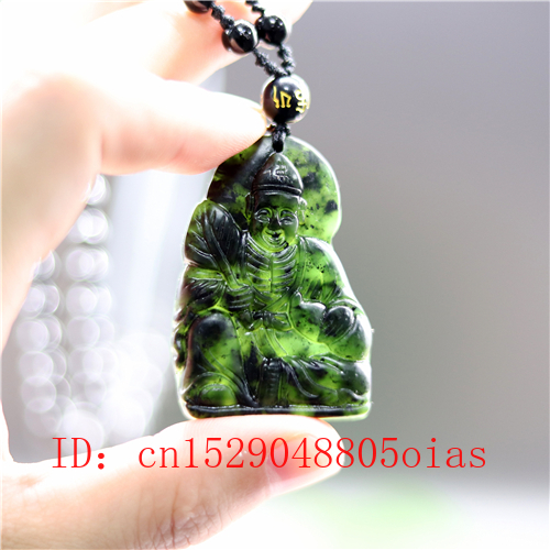 Natural Black Green Jade Buddha Pendant Beads Necklace Charm Jewelry Obsidian Accessories Carved Jigong Amulet Gifts For Men