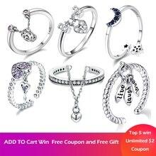VOROCO Аутентичные 925 пробы Серебряные кольца романтический слезы цветы мотаться Регулируемый кольцо для женщины Юбилей Jewelry кольцо кольца кольцо с жемчугом бижутерия кольцо женское