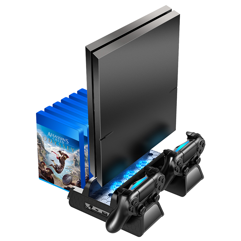 OIVO PS4 PS4 Slim PS4 Pro Vertical Cooling Stand Dual Controller Station Chargers Game storages LED Fan For SONY Playstation 4