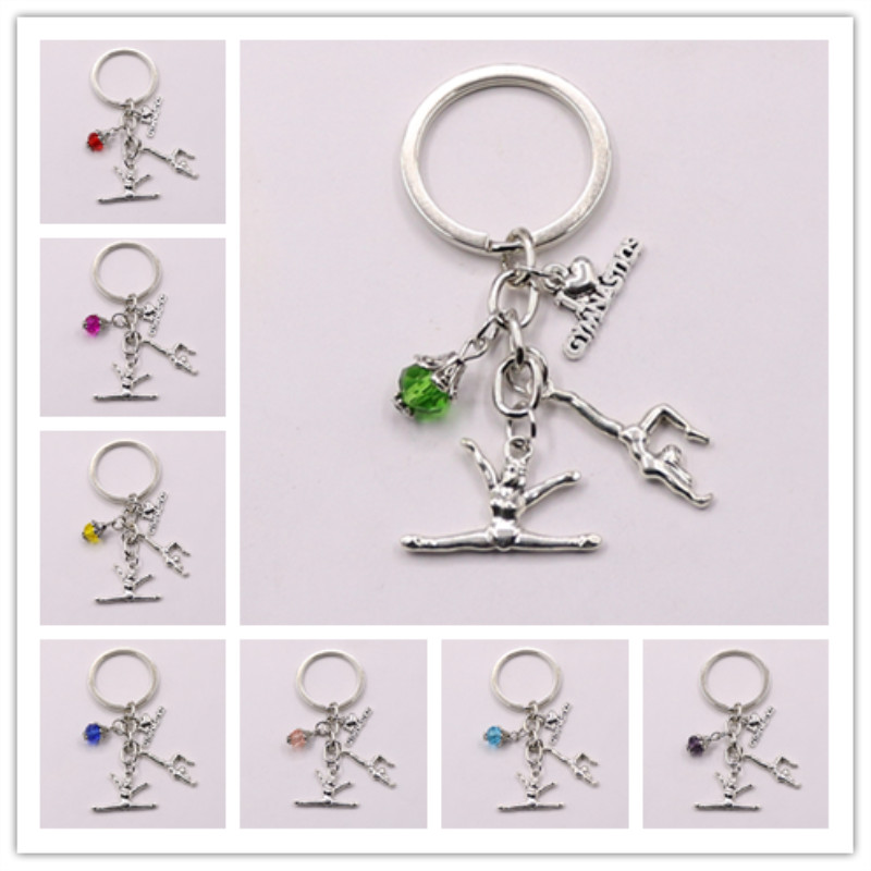 1pcs New I Love Gymnastics Key Chain Heart Gymnast Pendant Keychain Ring Keyring Creative Gifts Women