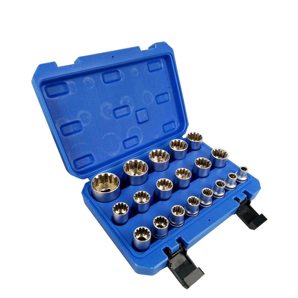 16/19/21 Pcs Socket Convertor Adaptor Set Square Drive 1/2' 12-point Impact Socket Adaptor For Car Bicycle Garage Repair Tool