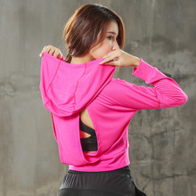 Women Workout Yoga Running Active Sport Open Back Cropped Pink Hoodie Sweatshirt